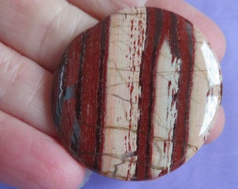 Beautiful patterened Red Jasper (13.9 grams / 37 mm) Palmstone or Worry Stone  (9)  - FREE UK POSTAGE
