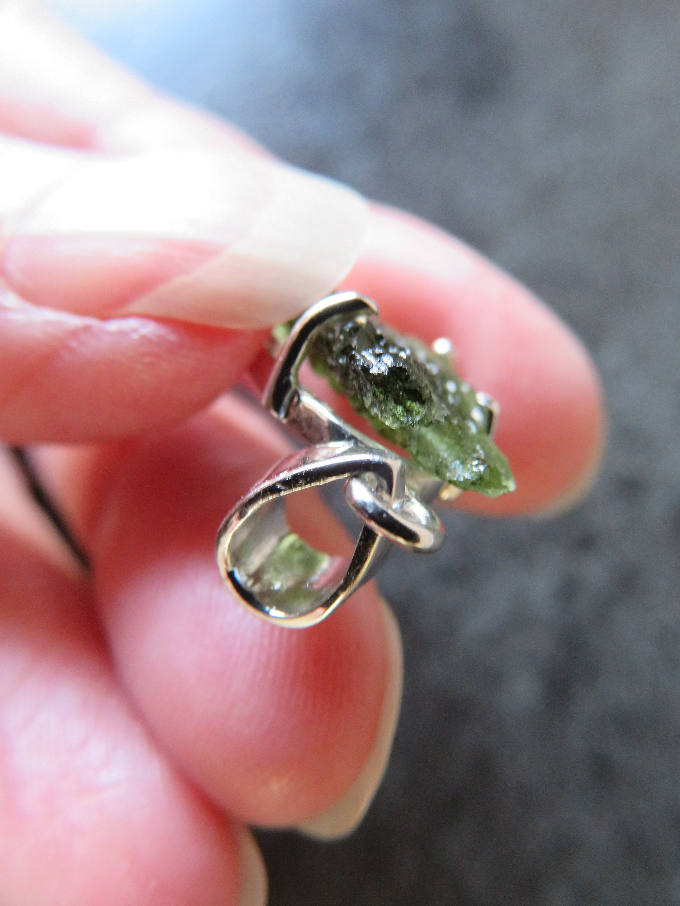 Stunning Moldavite (29 mm) Sterling Silver Claw Pendant (A13
