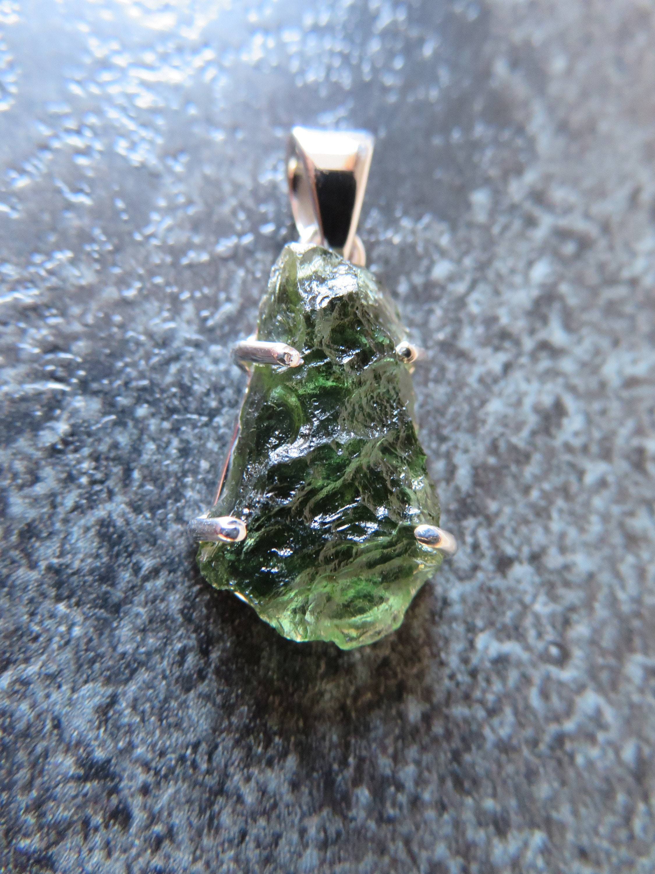 Stunning Moldavite (29 mm) Sterling Silver Claw Pendant (A12) - FREE