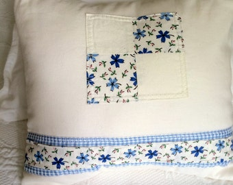 Cream & Periwinkle Blue Appliqued Pillow