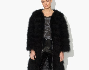 5e0b63136df Long Black Fluffy Feather Jacket Marabou Winter Womens Clothing Outerwear  Warm Coat Eveningwear