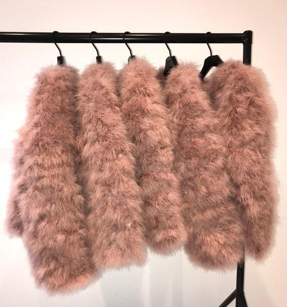 Blush Fluffy Feather Jacket Marabou Winter Womens Clothing Outerwear Warm Coat Eveningwear