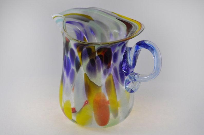 Reasonable Vintage End Of Day Blue Cased Spatter Glass Trophy Vase Art Glass Glass