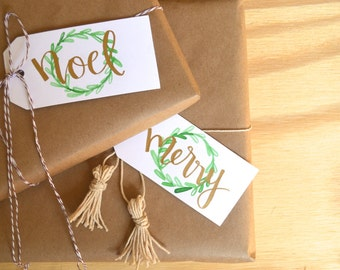 Holiday Wreath Gift Tags (Set of 8) - Hand Lettered - Gold Ink - Christmas - Modern calligraphy