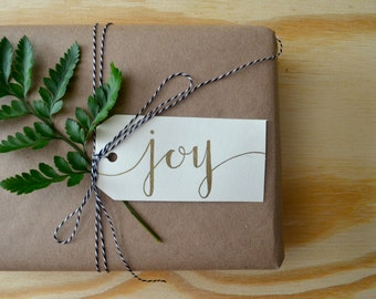 Holiday Gift Tags (Set of 8) - Hand Lettered - Gold Ink - Christmas - Modern calligraphy