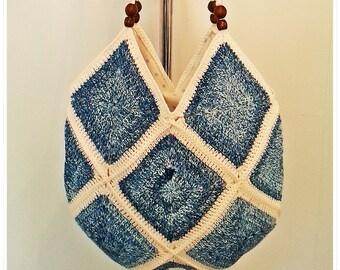 Crochet Bag, Shoulder Bag, Crossbody Bag, Boho Bag, Tote Bag, Summer Bag, Retro Bag, Gift for Her, Vintage Style, Hippie Style ,Cotton Bag