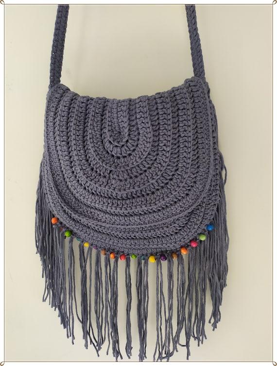 Crossbody Bag Retro Style Crochet Boho Bag Summer Bag Vintage Style Gift for Her Shoulder Bag Crochet Fringe Bag Crochet Bag