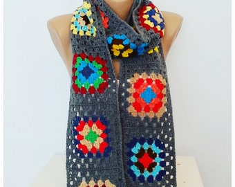 Scarf , Granny Square , Retro Scarf, Crochet scarf , Rainbow Scarf , Gift for her , Gray Scarf, Retro Style, Vintage Style, Hippie Style