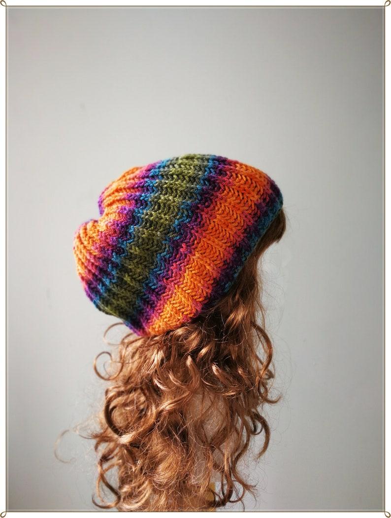 Rainbow Beanie Gift for Her Knit Hat Rainbow Slouchy Beanie Rainbow hat Slouchy Hat Knit Beanie Birthday Gift Christmas Gift