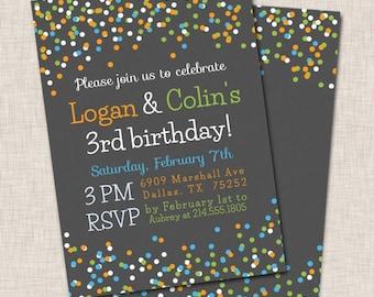 Birthday Party Invitation Twins Twin Invite Orange Green Blue Confetti Boy 032h
