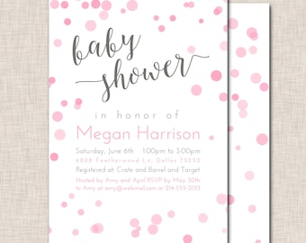 Baby Shower Invitation, baby girl shower invite, pink invitation, baby sprinkle invite, girl bubbles invitation, pink polka dots (063b)