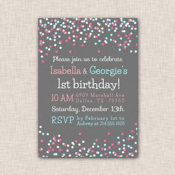 Birthday party invitation twins birthday invitation twin etsy image 0 filmwisefo