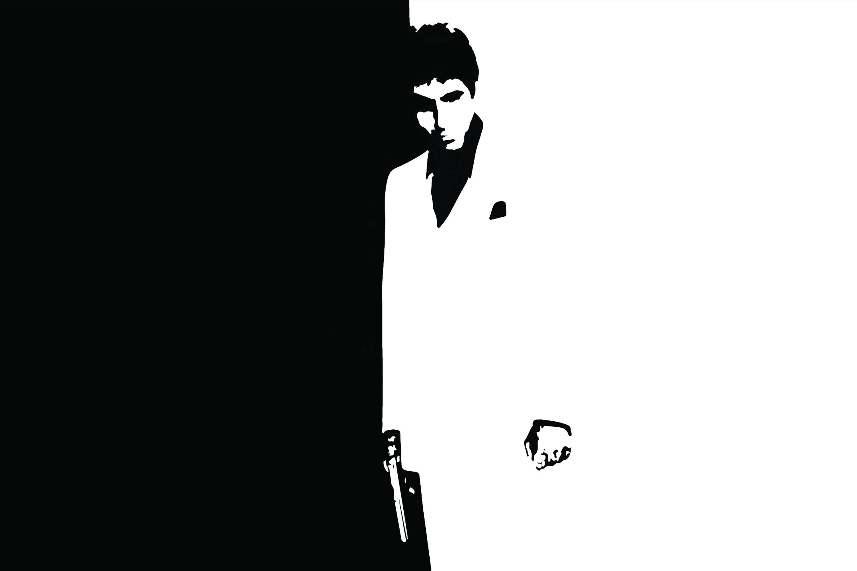 Scarface Leinwand Kunst: Tony Montana schwarz und weiß | Etsy