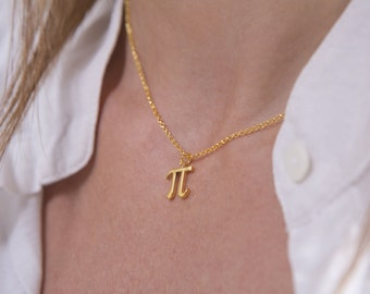 Gold pi pendant, Gold pi necklaces, Gift for him or for her, Math Jewelry, Pi necklace, Pi day, 314, Pi symbol, 3D printed math pendant, Pi