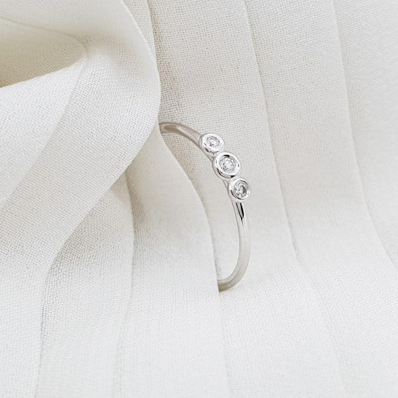 Prong set gold ring Diamond gold ring Diamond ring Engagement diamond ring Diamond solid gold ring Tiny diamond ring Engagement Ring