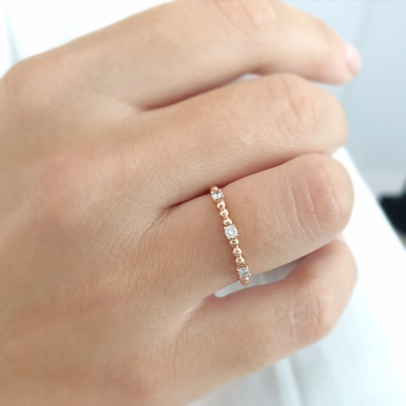 Engagement Ring Diamond ring Engagement diamond ring Diamonds solid gold ring Tiny diamond ring Prong set gold ring