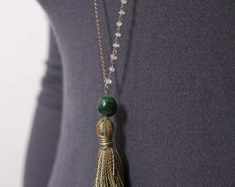 Necklace silver with precious stones in rosary by hand with  Boho style Necklace and the silc band