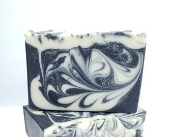 Black Pepper Soap -  Homemade Natural Handcrafted Artisan White and Black Swirl Handmade Cold Process Olive Oil Base Charcoal Bar Soap