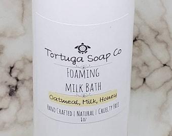Foaming Milk Bath, Oatmeal Milk and Honey Bubble Bath, Pearlized Liquid Luxury Milk Soak, Super Relaxing Milk Bubble Bath, in 4 oz and 8 oz