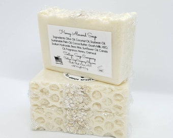 Honey Almond Soap, Goats Milk and Real Honey Topped with Organic Oatmeal, Fragrant Natural Artisan Cold Process Bar Soap for Hands Face Body