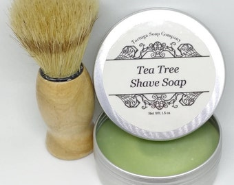 Tea Tree Shave Soap - All Natural Tea Tree Shave Soap with or without a Badger Hair Brush - Travel Tin Shaving Kit Wet Shave Soap Tin Puck