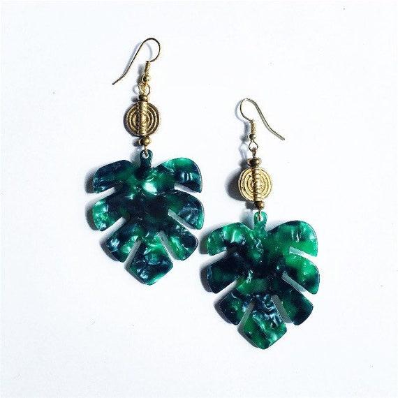 Leaf Resin and Akan Brass charm earrings