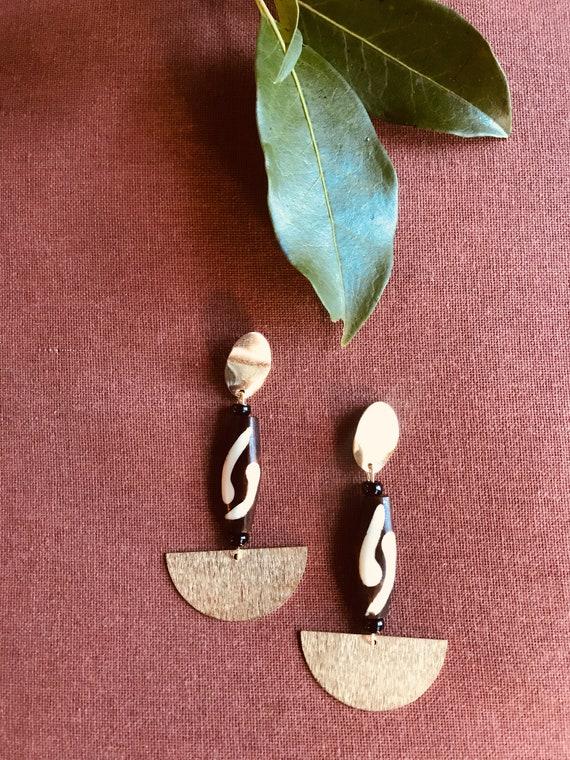 Handmade Batik bone and Brass Charm earrings