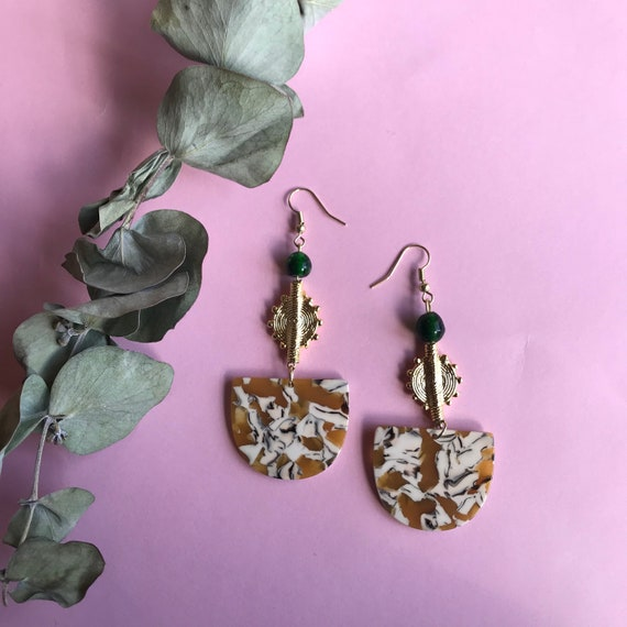 Acrylic Marble and Akan brass charm earrings