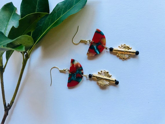 Handmade Akan Brass Charm and acrylic Resin earrings