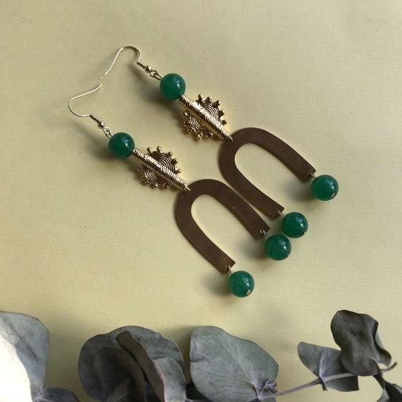 Sun Akan brass and crystal earrings