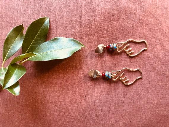Handmade Krobo beads and Brass Charm earrings