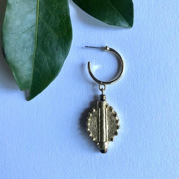 Single Handmade Brass Akan Pound Golden earring