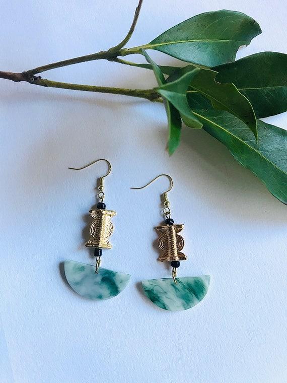 Handmade Akan Brass Charm and acrylic Resin earrings