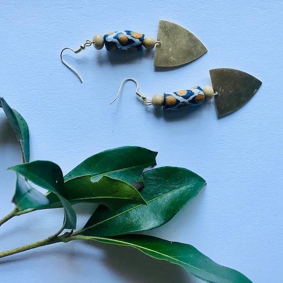 brass charm and  Handmade Krobo beads earrings