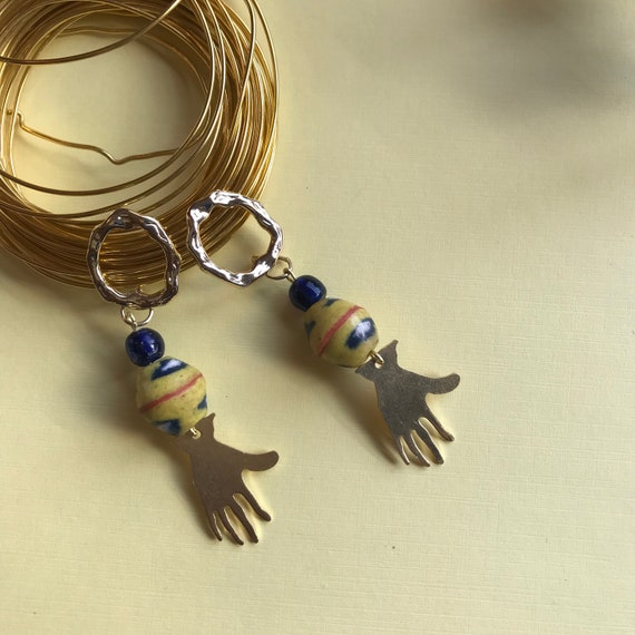 Beautiful Brass charm and Akan krobo bead earring