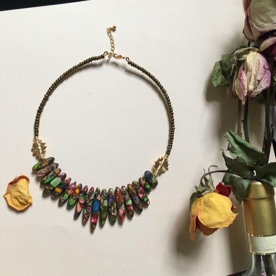 Akan Ébrié krobo bead and goden brass charm choker