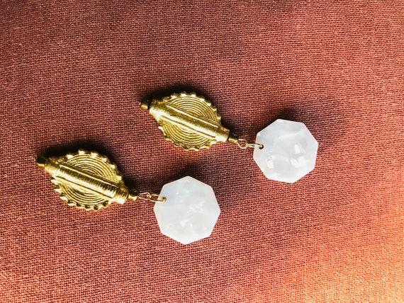 Handmade Akan Brass Charm and acrylic Resin Stud earrings