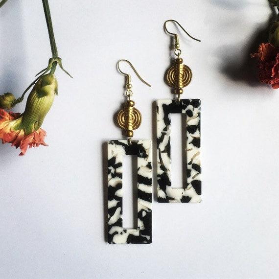 Dangle Resin and Akan Brass bead earrings