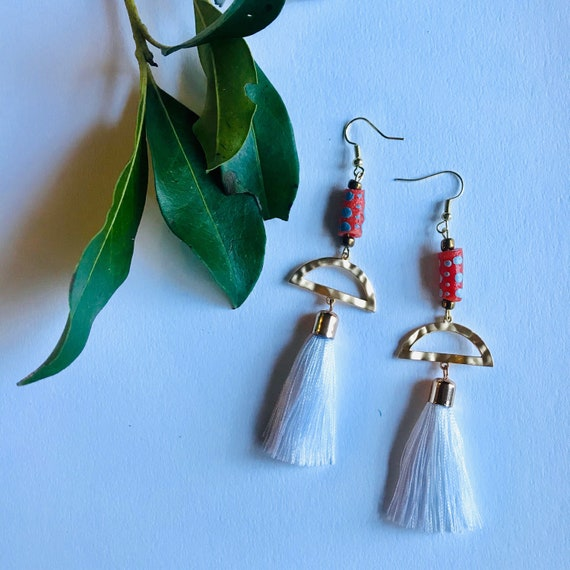 Handmade Krobo bead and Tassel Earrings