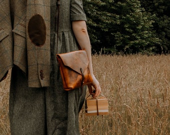Vintage style leather crossbody bag, tan leather messenger bag, The No. 84