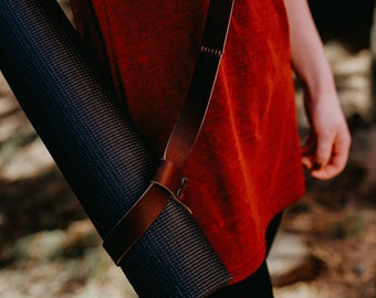 Leather Yoga mat strap, leather blanket carrier, yoga mat carrier, The No. 66