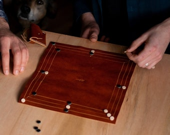 Leather board game, 12 Men's Morris, hand made board game