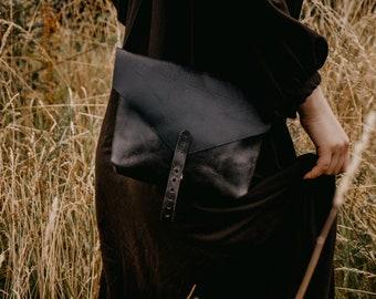Black leather crossbody bag, Hand made hand sewn small messenger bag, The No. 84