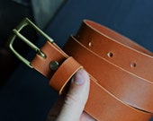 Full grain leather belt, Cognac leather belt with brass buckle, Italian veg tan leather belt, mens leather belt, The No. 21 - Cognac