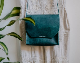 Emerald leather bag, small leather messenger bag, leather crossbody bag hand stitched, The No. 16