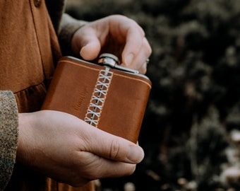 Rustic leather wrapped flask with initials, The No. 79 SPECIAL EDITION free personalisation