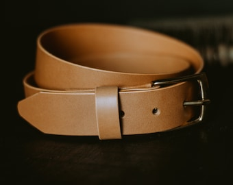 Luxury leather belt, mens leather belt with brass buckle, The No. 21 - Biscuit