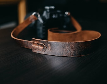 Leather camera strap, personalized camera strap, gift for photographer, The No. 41