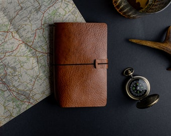 Leather notebook cover, refillable leather journal, Field Notes cover, Moleskine Cahier leather cover, The No. 44