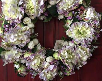 Lavender Peony Wreath
